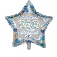 "In Loving Memory Dad Dearly Loved and Remembered Star Shaped 18"" Foil Balloon"