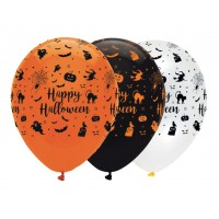 "Happy Halloween Printed 12"" Latex Balloons 50ct"