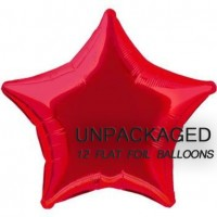 "Red - Star Shape - 20"" foil balloon (Pack of 12, Flat)"