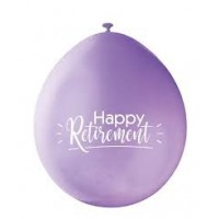 "Happy Retirement 9"" Latex Air Fill Balloon - Assorted Colours, Printed 1 Side - 10ct."