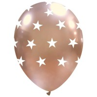 "Rose Gold Chromium Stars 12"" Latex 25Ct"