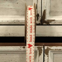 'Handmade with Love' Red Linen Ribbon 15mm x 5 yards