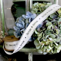 Bride & Groom Linen Ribbon 40mm x 5yds