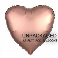 "Rose Gold - Heart Shape - 18"" foil balloon (Pack of 12, Flat)"