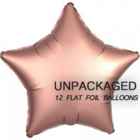 "Rose Gold - Star Shape - 18"" foil balloon (Pack of 12, Flat)"