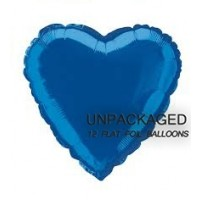 "Royal Blue - Heart Shape - 18"" foil balloon (Pack of 12, Flat)"