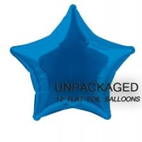 "Royal Blue - Star Shape - 20"" foil balloon (Pack of 12, Flat)"