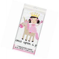 "Once Upon A Party - Princess Unicorn - Plastic Tablecover - 54"" x 84"""