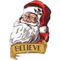 "Santa Believe Vintage 35"" Supershape"