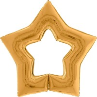 "Gold Star Shaped Linkable 48"" Grabo Foil Balloon (Unpackaged)"