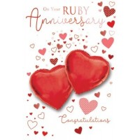 On Your Ruby Anniversary - With Best Wishes - Pack Of 12