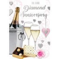 On Your Diamond Anniversary - With Warm Wishes - Pack Of 12