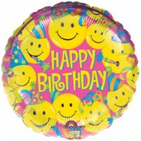 "Happy Birthday Smiley Faces 18"" Foil Balloon"