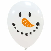 """Snowman Face 12"""" Latex Balloon 25Ct Two Colour Printed 1 Side"""