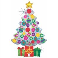 "Sparkling Ornament Tree 39"" Foil Balloon"