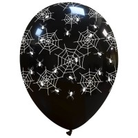 "Spider Web Halloween Superior 12"" Latex Balloons 25Ct"