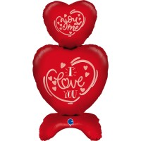 """Stacked Hearts 38"""" Foil Balloon (self standing, air fill)"""