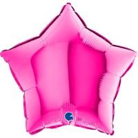 "Star 18"" Magenta Foil Balloon GRABO Flat"