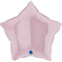 """Star 18"""" Pastel Pink Foil Balloon GRABO Flat"""