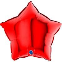 "Star 18"" Red Foil Balloon GRABO Flat"
