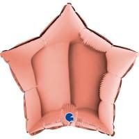"""Star 18"""" Rose Gold Foil Balloon GRABO Flat"""