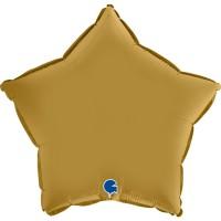 "Star 18"" Satin Gold Foil Balloon GRABO Flat"