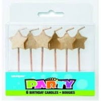 Gold Star Pick Birthday Candles 6ct