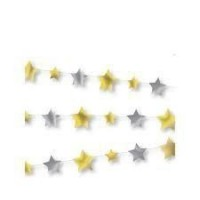 Twinkle Twinkle Little Star Silver And Gold Stars Garland 1ct