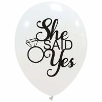 "She Said Yes Superior Clarity Range 12"" Latex Balloons 25Ct"