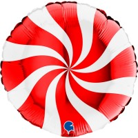 """Swirly White and Red 18"""" Foil Balloon"""
