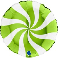"""Swirly White and Lime Green 18"""" Foil Balloon"""