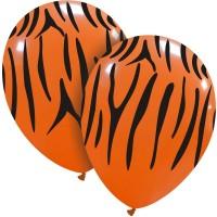 """Superior 12"""" Orange/Black Tiger Print Latex 25ct"""