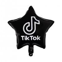 """TIKT0K Black Star 18"""" Foil Balloon (unpackaged)"""
