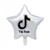 "TIKT0K Silver Star 18"" Foil Balloon (unpackaged)"