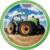 """Tractor Time 9"""" Plates 8Ct"""
