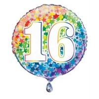 """Age 16 - Rainbow Stars - 18"""" Foil Balloon"""