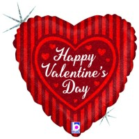 "Valentine's Day Stripes 18"" Foil Balloon"