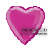 "Hot Pink - Heart Shape - 18"" foil balloon (Pack of 12, Flat)"