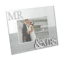 "Mr & Mrs - Glass Photo Frame 6""X4"""