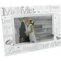 "Mrs & Mrs Mirror Glass & Glitter Photo Frame 6""X4"""