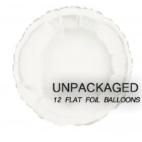 "White - Round Shape - 18"" foil balloon (Pack of 12, Flat)"