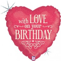 "with love on your Birthday Happy Birthday 18"" Foil Balloon"