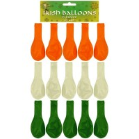 Irish 23cm Balloons - Green, White, Orange. 15ct.