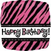 "Happy Birthday!  Zebra Print 18"" Foil"